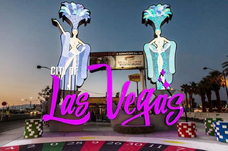 Atrae a muchas personas nuevo  cartel de bienvenida a Las Vegas