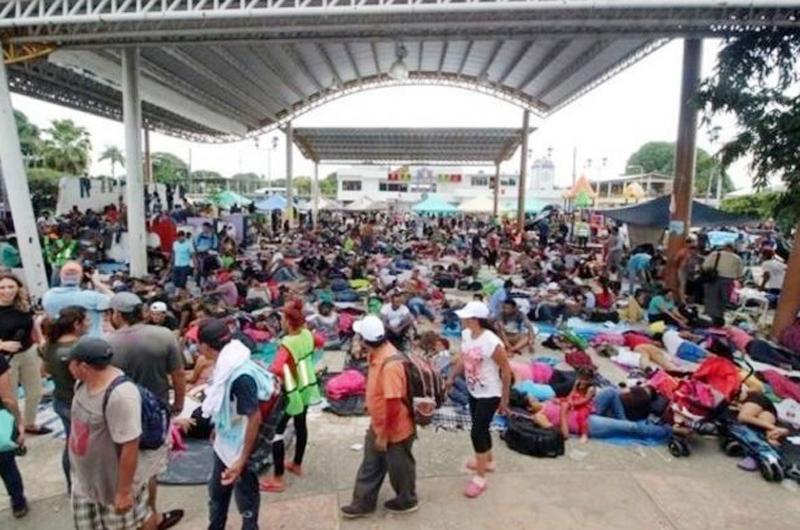 Varados, migrantes centroamericanos en Mapastepec, Chiapas