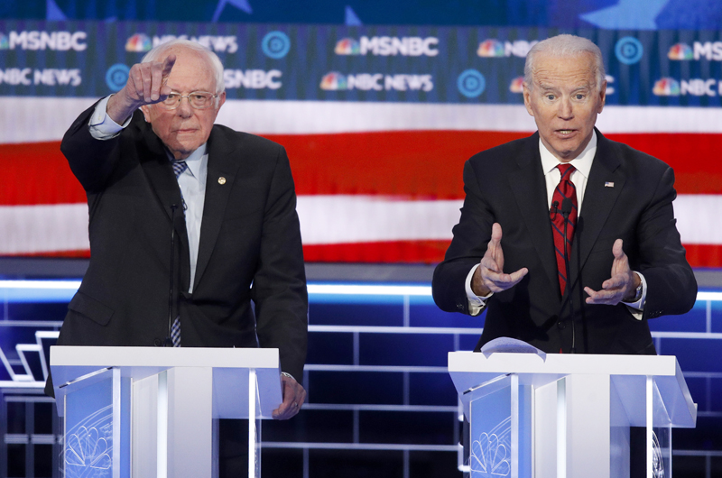 Covid-19 y vicepresidenta, tema destacados del debate Biden-Sanders